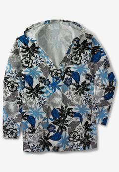 Gauze Pullover Hoodie, BLUE GREY FLORAL