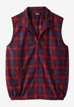 Fleece Zip Vest, RICH BURGUNDY PLAID