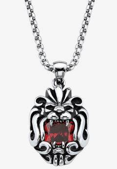 "Square-Cut Red Cubic Zirconia Tribal Lion Pendant Necklace In Antiqued Stainless Steel 24"" Chain,"