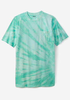 Shrink-Less™ Lightweight Longer-Length Crewneck Pocket T-Shirt, TIDAL GREEN MARBLE