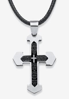 Stainless Steel Lord's Prayer Cross Pendant,