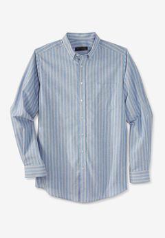 KS Signature Wrinkle-Resistant Oxford Dress Shirt, SKY BLUE STRIPE