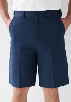 Wrinkle-Free Expandable Waist Plain Front Shorts, NAVY