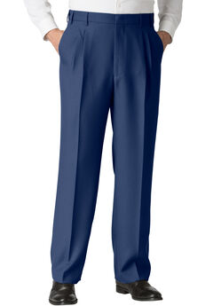 Easy-Care Classic Fit Expandable Waist Double-Pleat Front Dress Pants, VERY NAVY