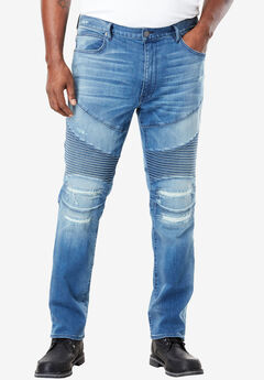 MVP Collections® Stretch Biker Jeans, INDIGO WASH