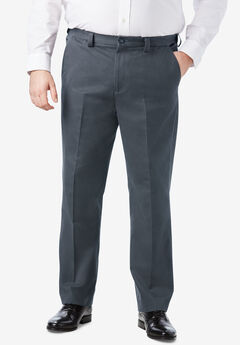 Classic Fit Wrinkle-Free Expandable Waist Plain Front Pants, CARBON