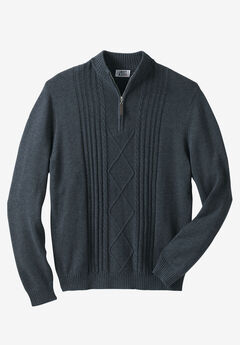 Shoreman's 1/4 Zip Cable Knit Sweater by Liberty Blues®, HEATHER NAVY