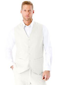 Linen Blend 5 Button Suit Vest by KS Island™, WHITE