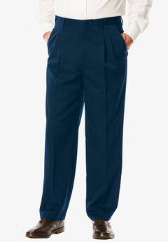 Signature Fit Wrinkle-Resistant Pleat Front Dress Pants, NAVY