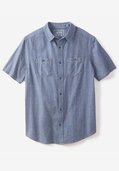 Short-Sleeve Utility Shirt by Liberty Blues®, RAILROAD STONEWASH DENIM