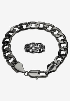 "Black Ruthenium-Plated Curb-Link 9"" Bracelet and Ring Set,"