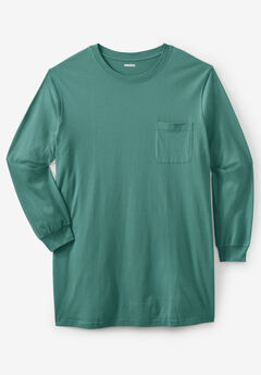 Shrink-Less™ Lightweight Longer-Length Long-Sleeve Crewneck Pocket Tee, VINTAGE GREEN