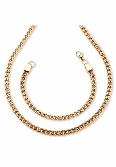 "Gold Ion-Plated Stainless Steel Curb-Link 24"" Chain and 9"" Bracelet Set,"