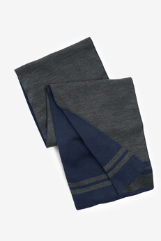 Reversible Scarf, NAVY HEATHER CHARCOAL