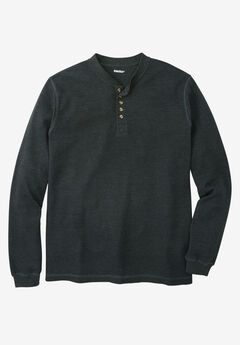 Waffle-Knit Thermal Henley Tee,