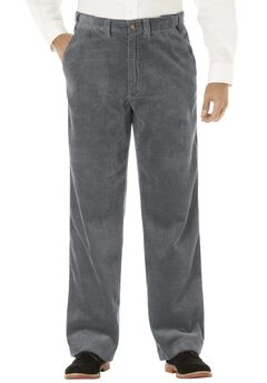 Six-Wale Corduroy Plain Front Pants, STEEL
