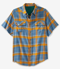 Liberty Blues® Cut-off Short-Sleeve Flannel, DUSTY BLUE PLAID