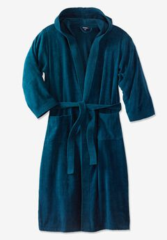 Terry Velour Hooded Maxi Robe, MIDNIGHT TEAL