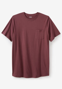 Shrink-Less™ Lightweight Longer-Length Crewneck Pocket T-Shirt, DUSTY PINK