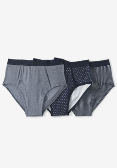 Classic Cotton Briefs 3-Pack, ASSORTED NAVY PATTERN