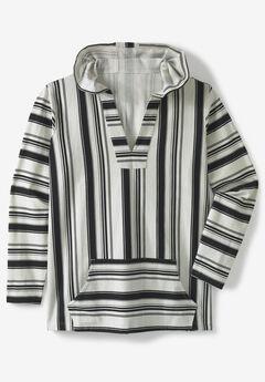 Pullover Gauze Hoodie, BLACK STRIPE