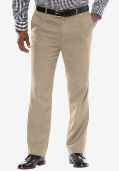 Signature Fit Wrinkle-Resistant Plain Front Dress Pants, TAUPE