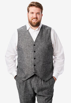 Linen Blend 5 Button Suit Vest by KS Island™,