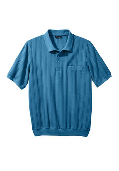 Banded Bottom Textured Polo Shirt,