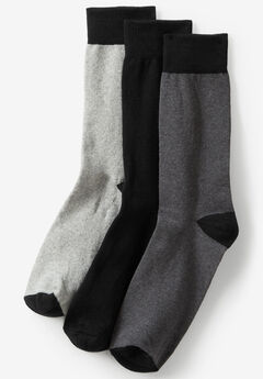 Contrast Dress Socks 3-Pack, BLACK GREY
