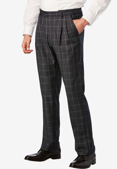 KS Signature Easy Movement® Pleat-Front Expandable Dress Pants, GREY PLAID