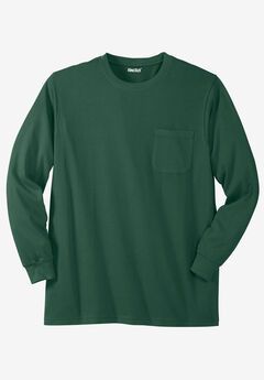 Shrink-Less™ Lightweight Long-Sleeve Crewneck Pocket Tee Shirt,