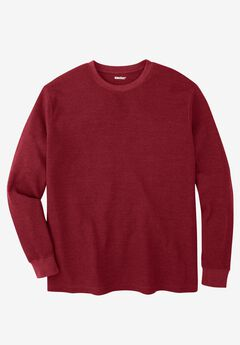Waffle Knit Thermal Crewneck Tee, RICH BURGUNDY