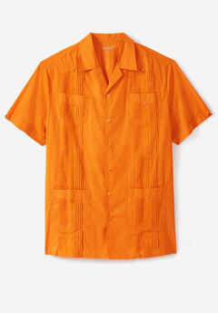 KS Island™ Short-Sleeve Guayabera Shirt, FLAME ORANGE