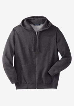 Fleece Zip-Front Hoodie, HEATHER CHARCOAL