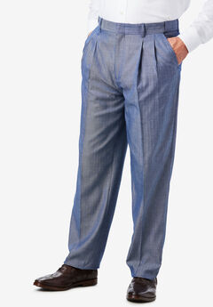 Easy-Care Classic Fit Expandable Waist Double-Pleat Front Dress Pants, DARK BLUE HERRINGBONE