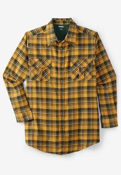 Plaid Flannel Shirt, YELLOW PLAID