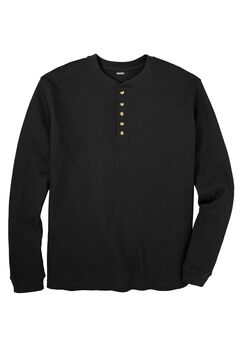 Waffle-Knit Thermal Henley Tee, BLACK
