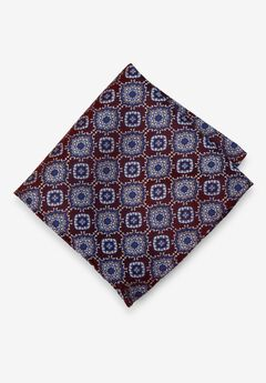 KS Signature Pocket Square, BURGUNDY MEDALLION