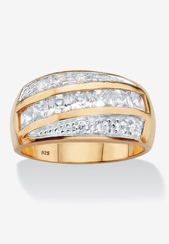Men's Yellow Gold over Sterling Silver Square Cut Ring Cubic Zirconia (1.32 cttw),