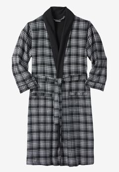 Jersey-Lined Flannel Robe, BLACK PLAID
