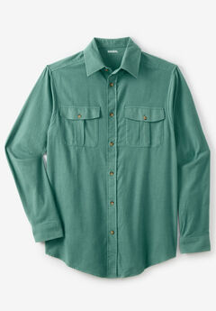 Solid Double-Brushed Flannel Shirt, VINTAGE GREEN