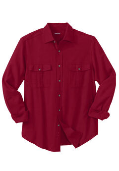 Solid Double-Brushed Flannel Shirt, RICH BURGUNDY