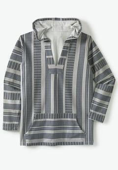 Pullover Gauze Hoodie, SAND GREY STRIPE