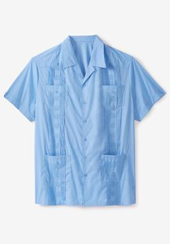 KS Island™ Short-Sleeve Guayabera Shirt, AZURE BLUE