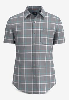 Washed Poplin Short-Sleeve Button Up Shirt,