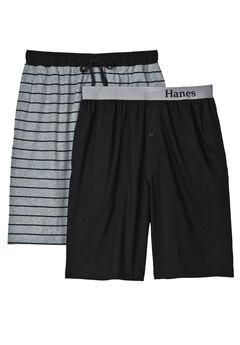 Hanes® 2-Pack Knit Sleep Shorts, BLACK GREY STRIPE
