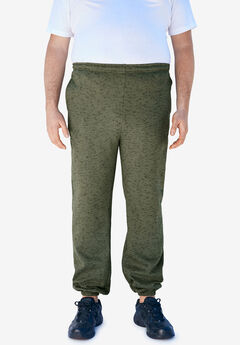 Fleece Elastic Cuff Sweatpants, OLIVE MARL