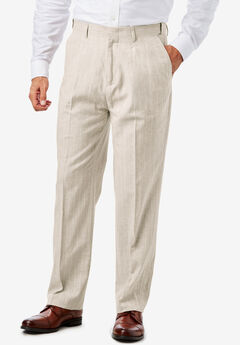 KS Island™ Linen Blend Plain Front Dress Pants,
