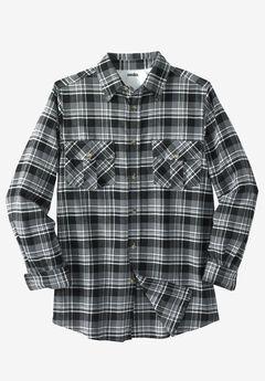 Plaid Flannel Shirt, BLACK WHITE PLAID
