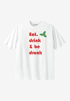 KingSize Slogan Graphic T-Shirt, MERRY DRINK
